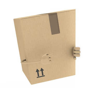 Cardboard box with a blank signboard