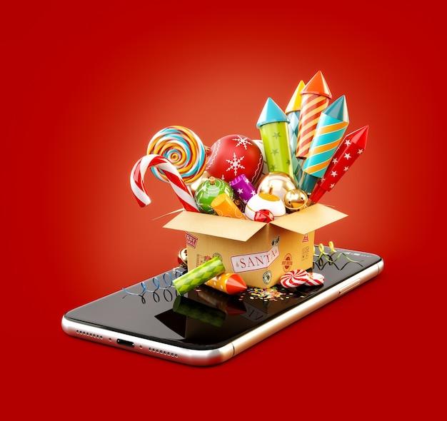 スマートフォンで花火、キャンディケイン、クリスマスつまらないものが入った段ボール箱。クリスマスアプリケーションの珍しい3dイラスト。メリークリスマスと新年あけましておめでとうございますのコンセプト。
