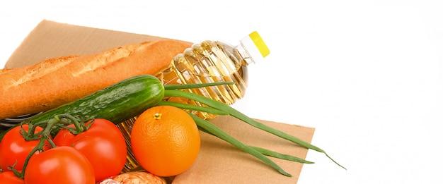 Cardboard box with food supplies