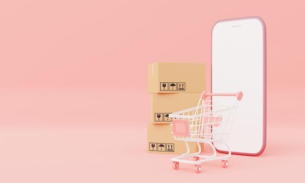 Картонная коробка с изолированным макетом смартфона с белым экраном и тележкой на розовом пастельном фоне. деловая доставка и покупка онлайн концепции. визуализация 3d-иллюстраций