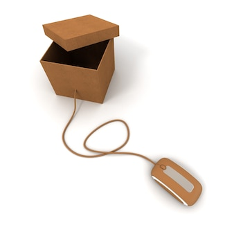 Cardboard box with open lid connected to computer mouse
