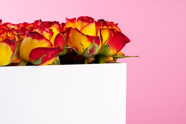 Cardboard box with roses on pink background