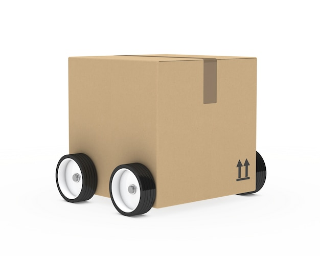 Cardboard box with wheels