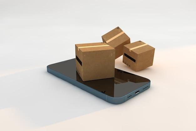 골판지 상자 및 스마트 폰, 배송 서비스