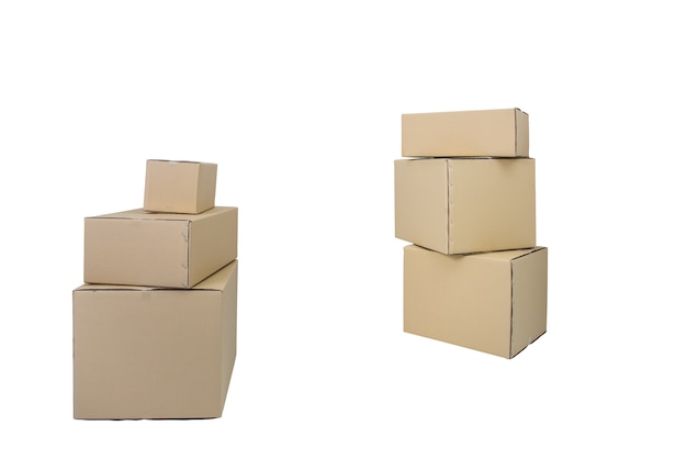 Cardboard boxes in different sizes stacked boxes