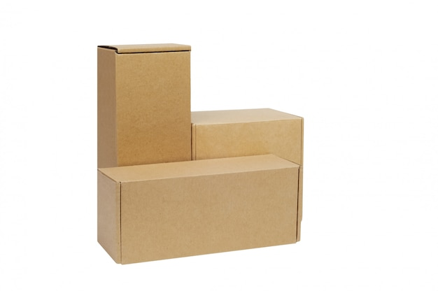 Cardboard boxes for goods on white
