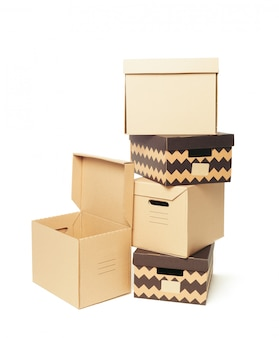 Cardboard boxes isolated over white