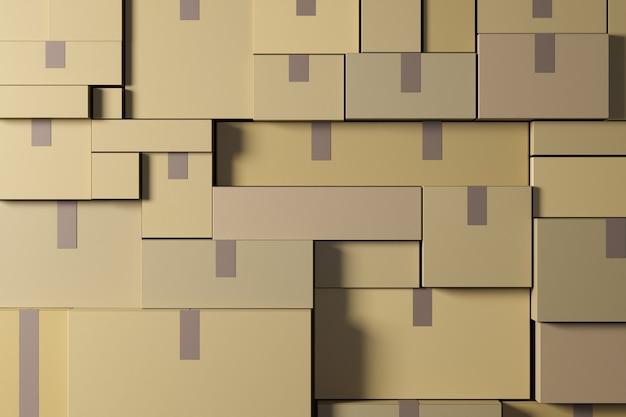 골판지 상자 물류 및 배달 개념 d 렌더링