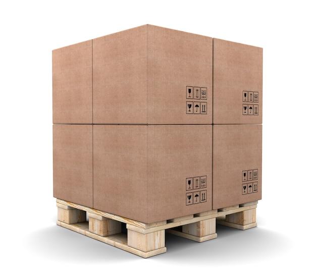 白で隔離のパレットの段ボール箱