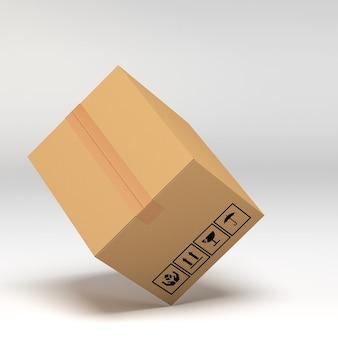 白い3 dイラストを段ボール箱