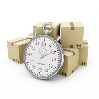 Cardboard boxes and a stopwatch on white