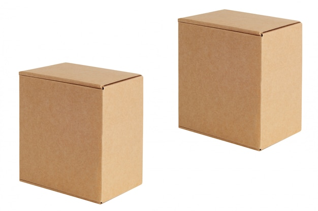 Cardboard boxes of various sizes are arranged in a row diagonally. isolated on white.