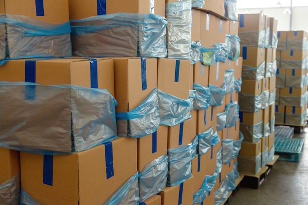 Cardboard boxes in the warehouse, prepared for packing goods.