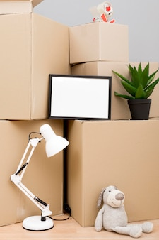Cardboard boxes with copy space