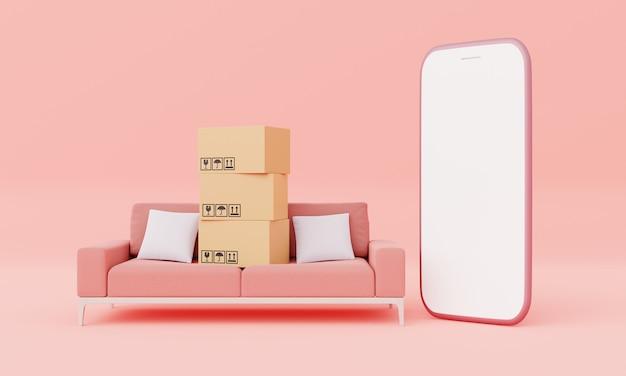 Картонные коробки с изолированным белым экраном смартфона с макетом украшения мебели дивана гостиной на розовом пастельном фоне. деловая доставка. концепция покупок в интернете. визуализация 3d-иллюстраций