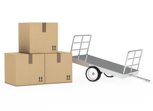 Scatole di cartone con una carriola