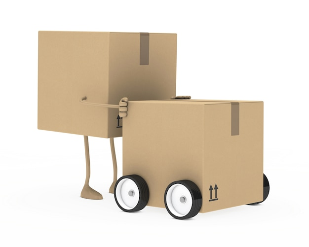 Cardboard character moving a box