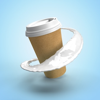 Картонная чашка с кофе и молочными брызгами, изолированные на синем фоне