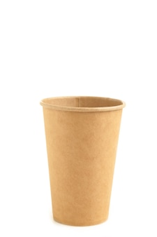 Cardboard disposable cup for coffee isolated on white background with clipping path. top view