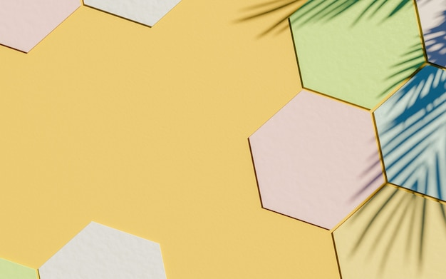Cardboard hexagons surface with pastel color and palm tree shadow