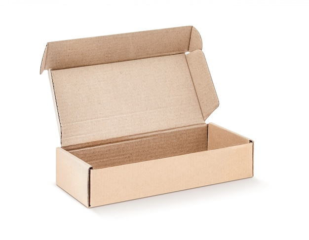 Cardboard kraft box open and isolated