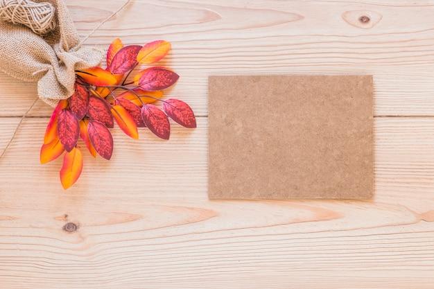 Cardboard near pouch with dry twig
