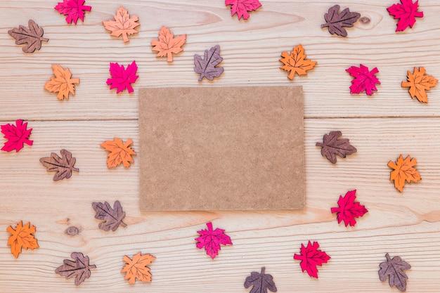 Cardboard between ornamental leaves