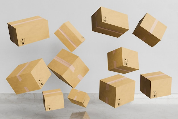 Cardboard packages floating in a room