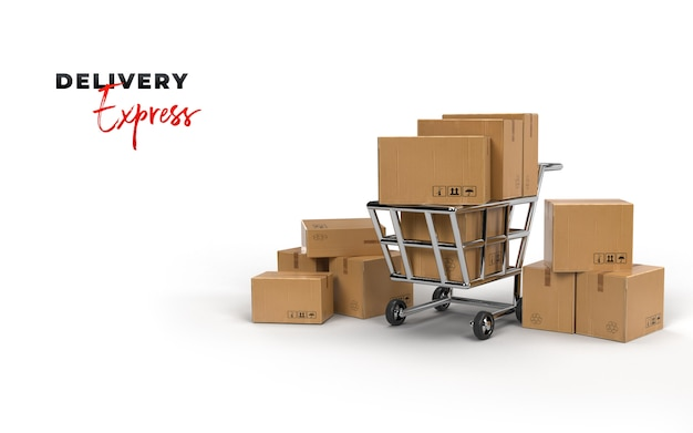 골판지 포장 및 쇼핑 카트가 빠른 배송을 기다리고 있습니다. 온라인 전자 상거래 사업에서의 선적. 전자 상거래 및 디지털 마케팅 사업의 개념. 3d 렌더링