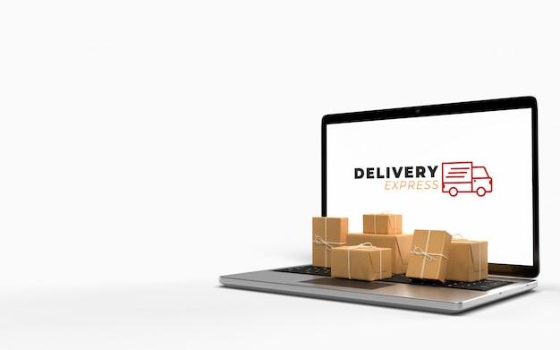 노트북과 함께 골판지 포장 패킷이 전자 상거래 온라인 쇼핑 비즈니스에서 빠른 운송을 기다리고 있습니다. 전자 상거래의 인터넷 개념을 통해 온라인 서비스. 3d 렌더링
