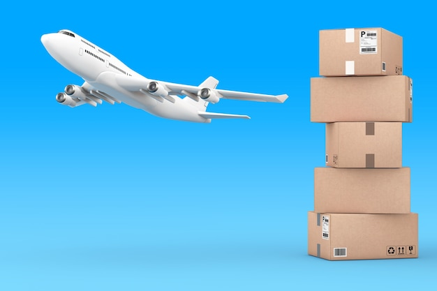 Cardboard parcel boxes stacked on each other with white airplane on a blue background. 3d rendering