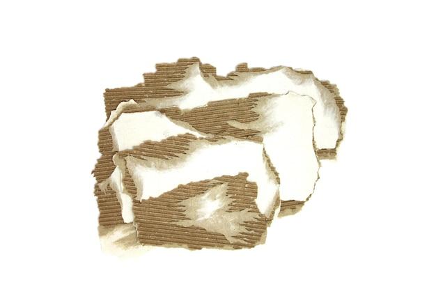 段ボール片のテクスチャ背景。コピースペースのあるカートンピース、白で隔離された破れたクラフト紙