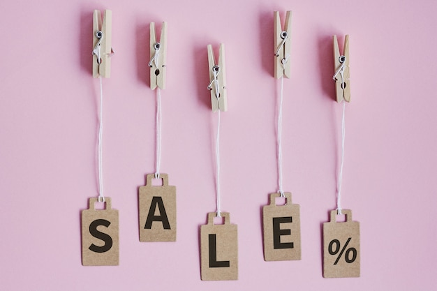 Cardboard price tags with sign sale