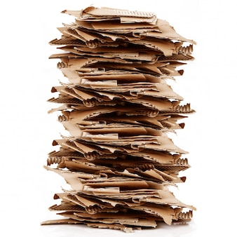 Cardboard for recycle on white