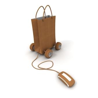 Картонная хозяйственная сумка на колесиках, подключенная к компьютерной мыши с аналогичной текстурой