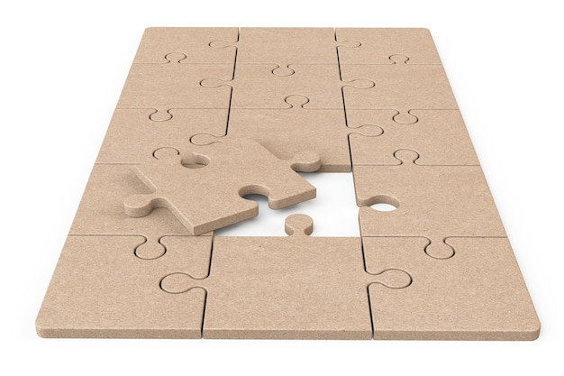 Cardboard zigsaw puzzle on a white background