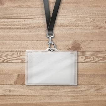 Cardholder for id on wooden surface