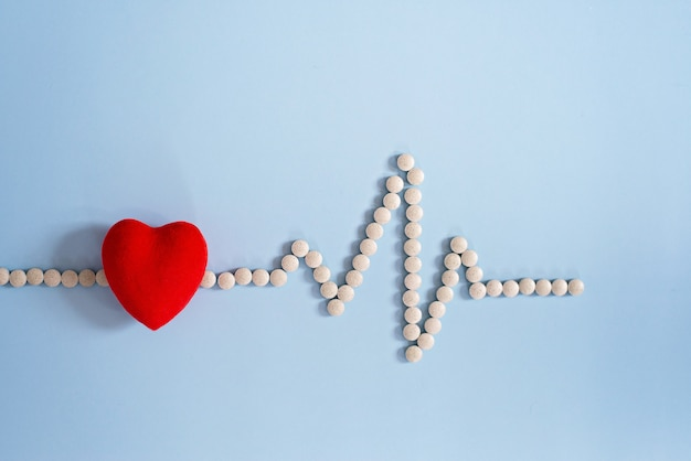 Cardiogram made with medical pills and toy red heart