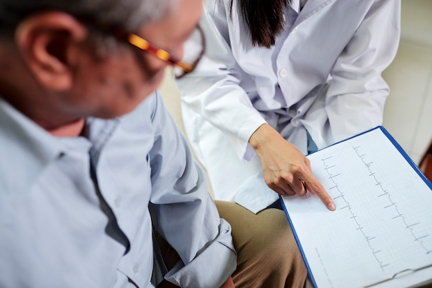心臓専門医が患者に心電図を表示