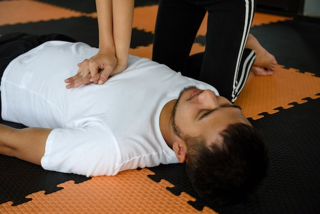 Cardiopulmonary resuscitation or cpr in  fitness gym