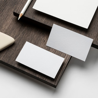 Cards and eraser on wooden modern stand