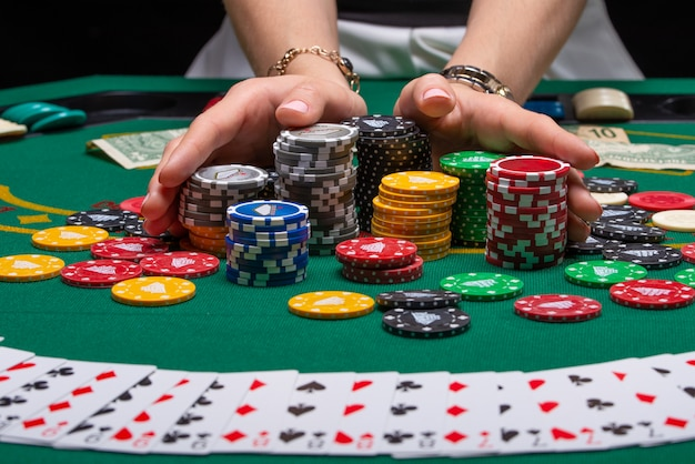 Cards for playing poker on a gaming table in a casino