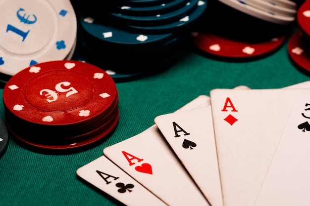 Cards with a square of aces in poker
