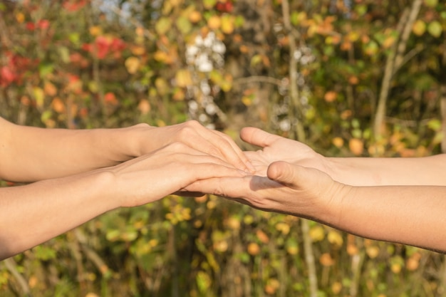Концепция ухода и поддержки - мать и молодая женщина подходят близко, примеряют руки.