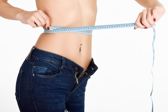 Care loss fitness woman measuring