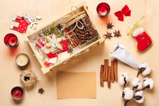 Care package, seasonal gift box with coffee, gingerbread and cinnamon