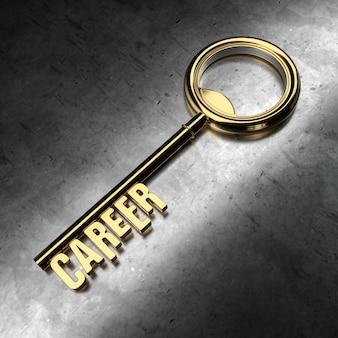 Career - golden key on black metallic background. 3d rendering