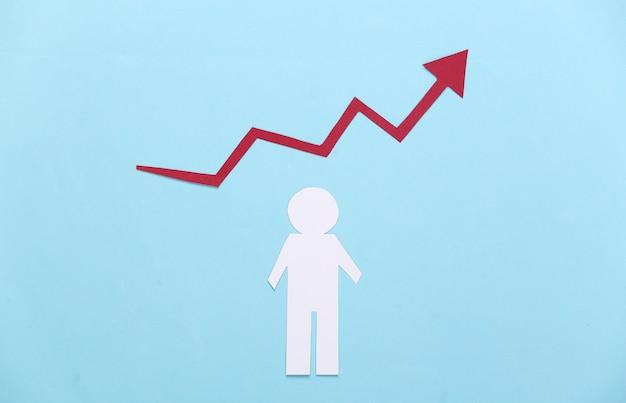 Концепция карьерного роста. деловая тема. бумажный человечек со стрелкой роста на синем. экономический подъем