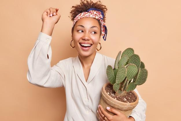 腕を上げてのんきな嬉しい女性のダンスは、ポットにサボテンを保持し、ベージュの壁に広く隔離された観葉植物の笑顔の世話をします