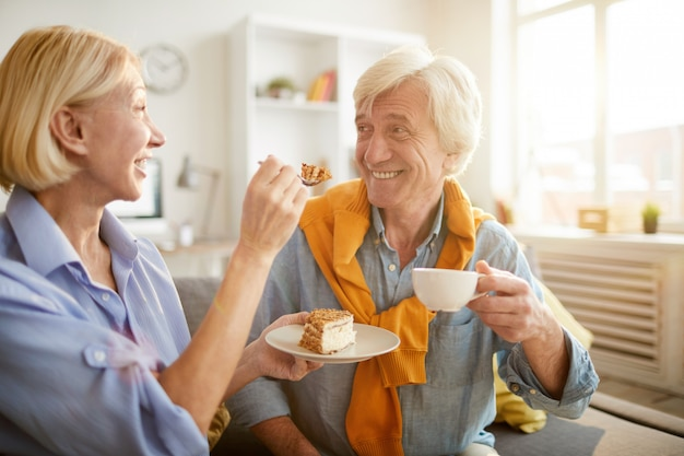 Carefree senior couple at home